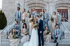 Bridal party photography on steps of church, mix and match styles of gold bridesmaid dresses