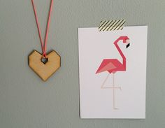 Ketting Hart met flamingo kaart
