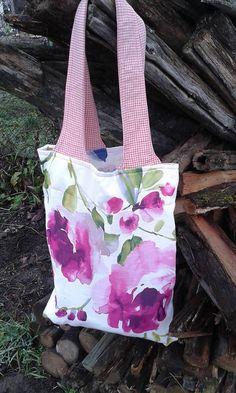 lienka97 / Kvietková nákupná taška s ružovými kockami