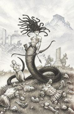 Greg Luzniak Art — Medusa in a field of statues! The original . Medusa Drawing, Medusa Art, Medusa Gorgon, Medusa Tattoo, Mythological Creatures, Fantasy Creatures, Mythical Creatures, Dark Fantasy, Fantasy Art