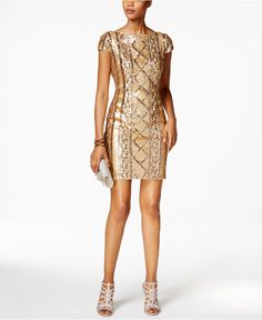 Adrianna Papell Sequin Sheath Dress & INC International Concepts Accessories - Adrianna Papell - Women - Macy's
