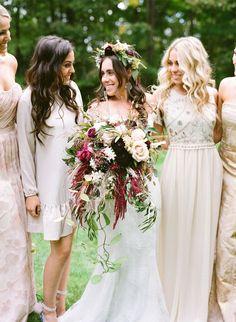 Bohemian Chic Miller's Nursery Wedding: http://www.stylemepretty.com/2015/10/15/romantic-bohemian-chic-millers-nursery-wedding/ | Photography: Lacie Hansen - http://laciehansen.com/: