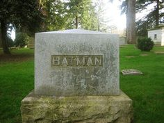real life Batman tombstone at a Portland, Oregon cemetery photograph taken by Brittney Cox via flickr.com