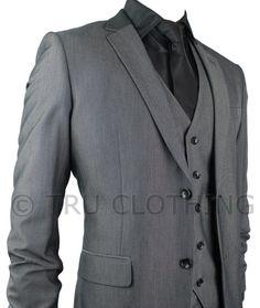 Mens Slim Fit Suit Grey Black Buttons 3 Piece Work Office or Wedding Party Suit