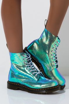 Holographic ankle height lace up combat boot by DR. Grunge Style, Soft Grunge, Galaxy Converse, Doc Martins, Grunge Outfits, Converse Chuck Taylor, Holographic Boots, Chuck Taylors, Adidas Shoes Nmd