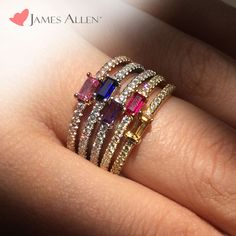 Choose your colorful combo at James Allen! Enjoy 15% Off Stackable & Eternity Rings -  perfect Mother's Day gifts!  Use coupon code: MOM15 *Offer doesn't include loose diamonds and/or gemstones. Promotion ends Sunday, May 10th, 2015 at 11:59 PST. Cannot be combined with any other offer. #jamesallenrings