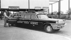 1958 Chrysler Saratoga Airport Coach Service, Disneyland Hotel, circa Front plate says Disney Trips, Disney Parks, Disney Travel, Chrysler Saratoga, Airport Shuttle, Disneyland Hotel, Technology World, Limo, Vintage Disney