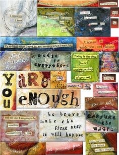 COLLAGE WORDS  Digital Collage Sheet for journals cards by Zorana