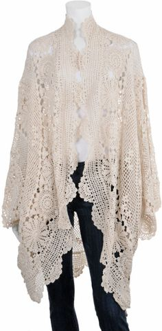 Mes Demoiselles Cozy Crochet Sweater in White (ivory)