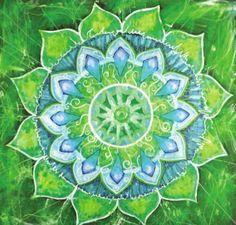 Abstract Green Painted Picture with Circle Pattern, Mandala of Anahata Chakra Art Print Anahata Chakra, Chakra Art, Heart Chakra, Chakra Healing, Mandala Bleu, Mandala Art, 7 Chakras, Adult Coloring, Coloring Books