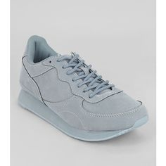 New Look Pale Blue Snakeskin Texture Trainers (£26) ❤ liked on Polyvore featuring shoes, sneakers, pale blue, round cap, pale blue shoes, laced shoes, snakeskin sneakers and round toe shoes