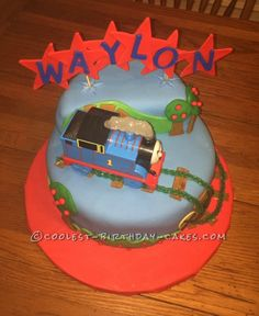 Upper View of Thomas the Train Cake