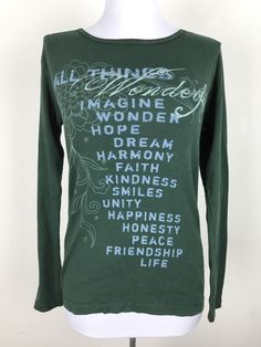 Sundance Catalog Shirt All Things Wonderful Green Long Sleeve Size Small #Sundance #Shirt #Casual