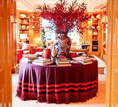Tory Burch's entry table. Tablecloth!