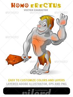 VECTOR DOWNLOAD (.ai, .psd) :: http://hardcast.de/pinterest-itmid-1002400615i.html ... Homo Erectus Mascot ...  cartoon, character, cool, fun, funny, happy, homo erectus, human, illustration, man, mascot, smile, vector  ... Vectors Graphics Design Illustration Isolated Vector Templates Textures Stock Business Realistic eCommerce Wordpress Infographics Element Print Webdesign ... DOWNLOAD :: http://hardcast.de/pinterest-itmid-1002400615i.html