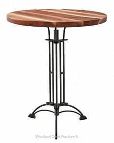 Pedestal Pub Table With Walnut Slab Top by Woodland Creek Natural Wood Furniture, Furniture Ideas, Furniture Design, Rustic Pub Table, Log Bed, Walnut Slab, Cafe Restaurant, Pedestal, Woodland