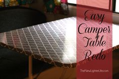 Easy Camper Table Redo - RV Remodel Ideas on a Budget find pattern with big flowers or paisley Truck Camper, Popup Camper, Diy Camper, Travel Camper, Camper Tricks, Camper Awnings, Camper Van, Happy Campers, Rv Campers