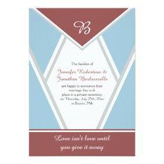 Marsala Dusty Blue Light Gray Post Wedding Cards Invitations
