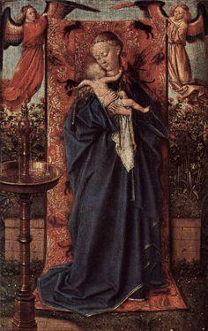 Jan van Eyck, Maaseik um 1390 - Brügge 1441 Madonna am Brunnen / Madonna at the… Rembrandt, Johannes Vermeer, Hieronymus Bosch, Renaissance Artists, Renaissance Paintings, Robert Campin, Ghent Altarpiece, Art Van, European Paintings