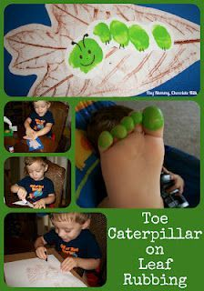 Toe caterpillar on leaf rubbing This is SO cute! Ill have to do this with all the kids after the baby is born. THe parents might even have to add their caterpillars and make it family art! Hungry Caterpillar Activities, Caterpillar Craft, Very Hungry Caterpillar, Daycare Crafts, Classroom Crafts, Baby Crafts, Spring Activities, Craft Activities, Toddler Activities