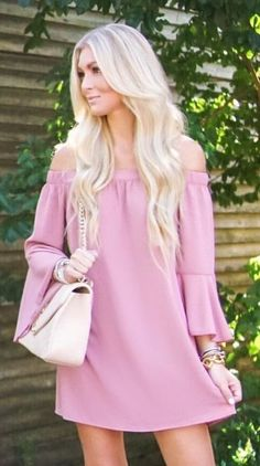 #fall #outfits Can You Ever Have Enough Off-the-shoulder Dresses!? It Has The Cutest Sleeves And It's Only $55! 👌🏼