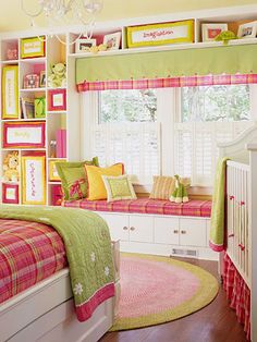 Great use of space with built in shelves and love the window seat and shuttters!