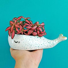 Whale Lover Pot Aquatic Gift Ceramic Whale Sucullent Planter Ceramic Animal Pot Cute Adorable Mini Planter Sea Lover Interior Design by MrsBiscuitArt on Etsy Ceramic Flower Pots, Ceramic Planters, Ceramic Animals, Ceramic Art, Ceramic Decor, Pot Plante, Selling Handmade Items, Indoor Plants, Planting Flowers