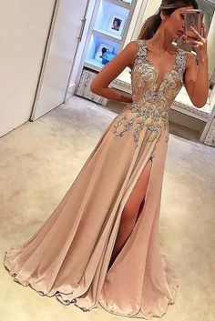 Split Prom Dresses, V Neck Prom Dresses, Unique Prom Dresses, Prom Party Dresses, Beautiful Dresses, Dresses Dresses, Prom Gowns, Chiffon Dresses, Satin Dresses
