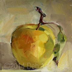 Here is a painting of another Golden Delicious apple. The girls and I went apple picking this weekend. We did our best to pick properly, but a few twigs broke off and they make interesting subjects. A beautiful blushing golden apple with red stems and a green leaf, painted in the alla prima style. Six inches square, oil on gessoed hardboard, ready for framing or display. Painting will ship after Nov. 6 (2 weeks to dry).