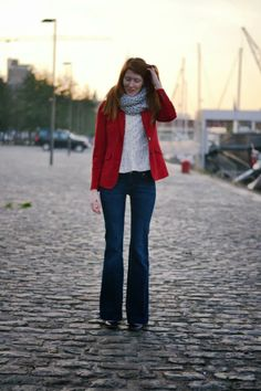 Red Blazer + Lace Shirt + Flare Jeans
