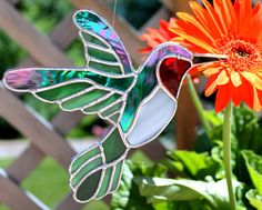 Hummingbird Stained Glass Suncatcher by GoodGriefGlass on Etsy, $32.00