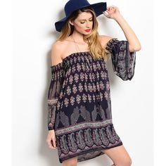The DREW off shoulder print dress - NAVY BOTTOM PRICE️HPx2Super darling bell sleeve % polyester dress. ‼️️NO TRADE‼️ Dresses