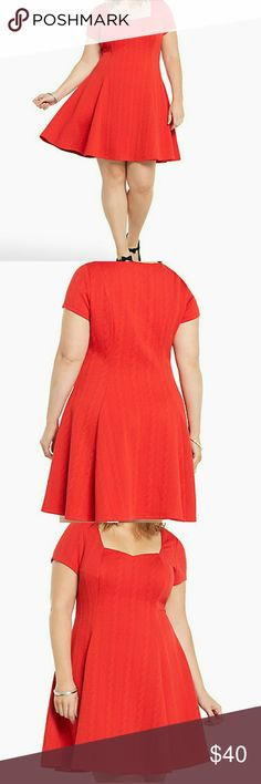 RED TEXTURED KNIT SKATER DRESS Size 2 polyester and spandex measures long from shoulder to hem between 38 and 42 in color red torrid Dresses