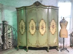 Painted Cottage Prairie Chic French Vintage Hand Painted  Armoire FREE SHIPPING