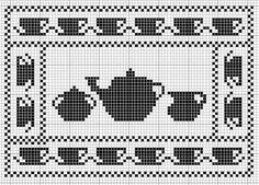 tea time cross stitch chart would be good for tray liner Cross Stitch Borders, Cross Stitching, Cross Stitch Embroidery, Cross Stitch Patterns, Filet Crochet Charts, Crochet Motifs, Knitting Charts, Needlepoint Patterns, Embroidery Patterns