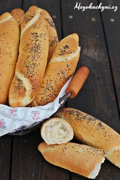 Domácí rohlíky Homemade Rolls, Czech Recipes, Ice Cream Pies, How To Make Bread, No Bake Cake, Hot Dog Buns, Bagel, Food Inspiration, Bread Recipes