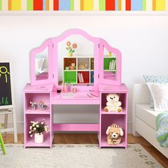 Kids vanity table is a multi-functional dressing table tailored for children which gives your kids a funky place and more chance to become beautiful. Small Storage Shelves, Table Storage, Storage Spaces, White Vanity Table, Vanity Table Set, Kids Vanity Set, Spiegel Design, Makeup Dressing Table, Pink