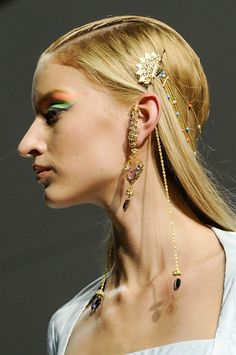 Gold Head Piece & earrings @ Manish Arora Spring 2013 Paris Fashion Week #PFW