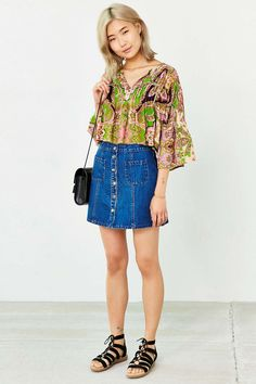 Raga Retro Vibes Cropped Blouse - Urban Outfitters