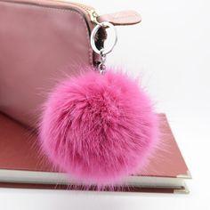 10 cm pelota pompón de piel Del conejo del Faux Fox llavero sleutelhanger esponjoso de alta calidad cubierta de la llave del anillo dominante de la cadena bolso de las mujeres