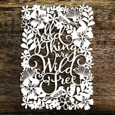 Papercut Template All good things are wild and by SASCreative