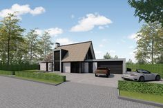 House Elevation, House Plans, Villa, Garage, House Design, Flooring, Mansions, House Styles, Projects