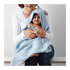 BADET Ręcznik dziecięcy z kapturem, jasnoniebieski - jasnoniebieski - IKEA