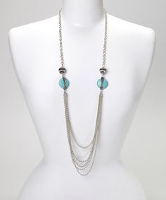 Take a look at the Silver & Turquoise Multi-Strand Necklace on #zulily today!