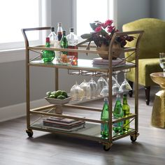 Belham Living Braxton Bar Cart - Every gathering will have Gatsby flair when serving from this Belham Living Braxton Bar Cart . This generous bar cart is graced with a shimmering glass...