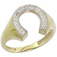 10K Yellow Gold Mens Horseshoe Ring Diamond Accent 9/16 inch wide, sizes 8 - 13