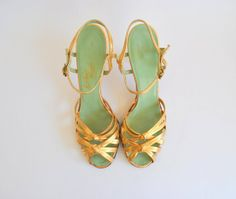 Gold strappy heels with mint inner soles Gold Strappy Heels, Gold Shoes, Gold Sandals, Green Sandals, 50s Shoes, Shoes Heels Boots, Me Too Shoes, Gold Lame, Walk In My Shoes