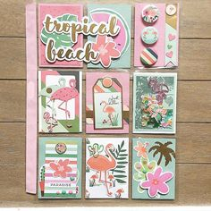 Lovely summery pocket letter with flamingos - - Atc Cards, Journal Cards, Flamingo Craft, Snail Mail Pen Pals, Project Life Cards, Invitation, Pocket Scrapbooking, Candy Cards, Pocket Letters