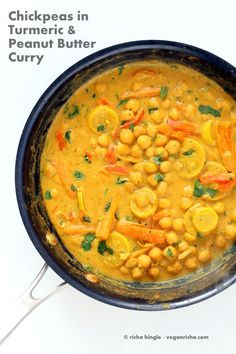 Chickpeas in Turmeric Peanut Butter Curry. Easy Nut Butter Curry Sauce with Summer veggies and Chickpeas. Vegan Gluten-free Soyfree Recipe | http://VeganRicha.com