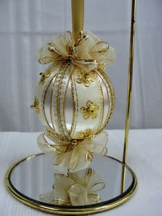 Items similar to Handmade Christmas Tree Ornament Vintage White Satin Ball w/Gold Embellishments Bows & Roses on Etsy Victorian Christmas Ornaments, Handmade Christmas Tree, Christmas Ornaments To Make, Christmas Crafts, Christmas Mantels, Vintage Ornaments, Vintage Santas, Christmas Christmas, Fabric Ornaments